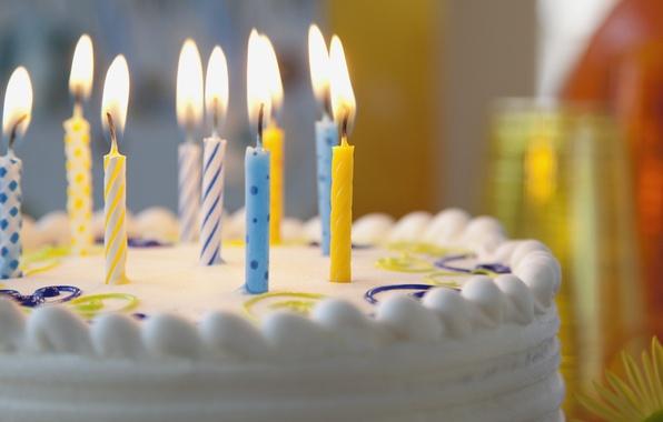 Picture candles, cake, cream