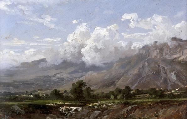 Photo wallpaper picture, Carlos de Haes, Mountain Landscape, clouds, nature