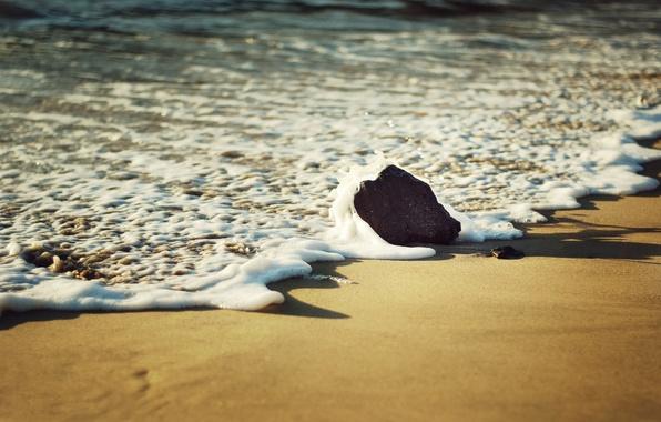 Picture sand, sea, beach, foam, macro, stone