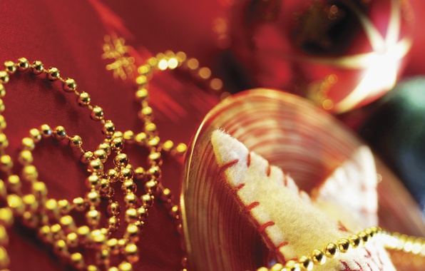 Picture decoration, red, holiday, star, new year, beads, gold plated, blurry, Christmas decorations, Wallpaper from lolita777