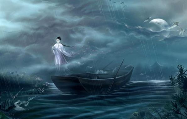Picture girl, night, fog, house, river, rain, the moon, boat, Japan, spirit, art, cranes