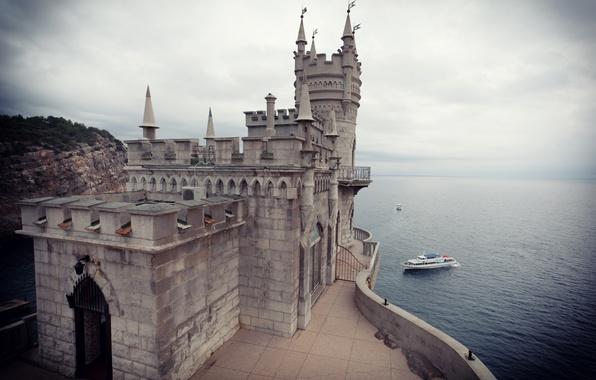 Picture sea, clouds, castle, horizon, Russia, Crimea, Swallow's nest, Cape, Castle Swallows Nest