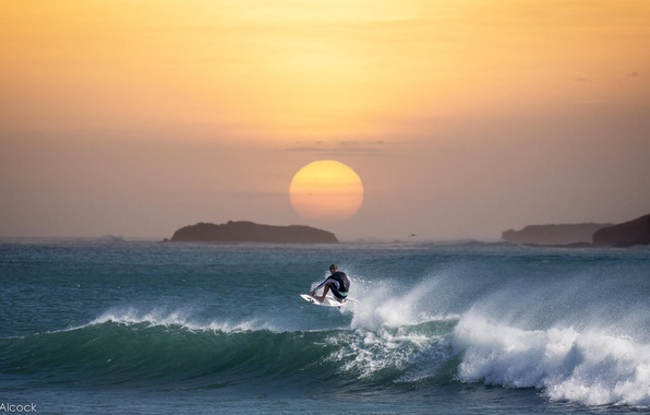 Picture wave, sunset, the ocean, surfing