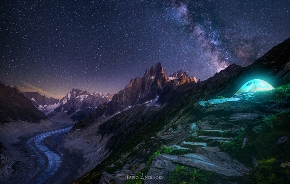 Picture the sky, stars, light, mountains, night, rocks, tent, the milky way