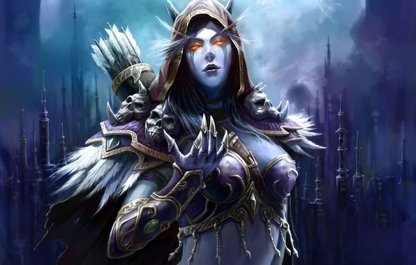 Picture armor, spikes, skull, WoW, elf, arrows, World of warcraft, spires, quiver, Sylvanas Windrunner