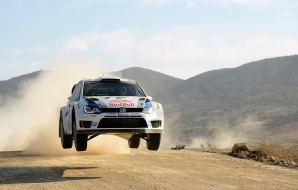 Picture The sky, Auto, White, Sport, Volkswagen, Machine, The hood, Day, Red Bull, WRC, Rally, Rally, …