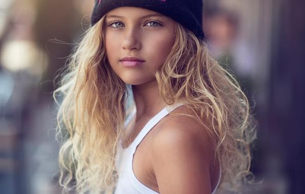 Picture portrait, girl, girl, fashion, curls, cap, children, Natural Light, Melannia