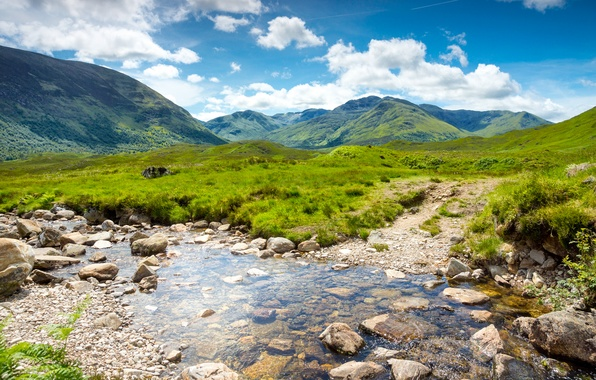 Picture greens, the sky, grass, water, clouds, landscape, mountains, nature, stream, stones, valley, Scotland, UK, Scotland, ...
