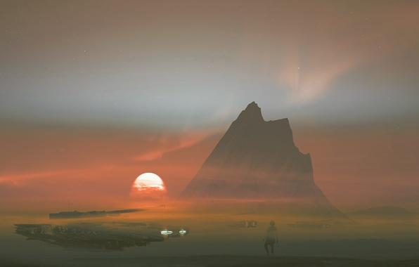 Picture the sun, sunset, fiction, rocks, smoke, mountain, art, tank, Dream