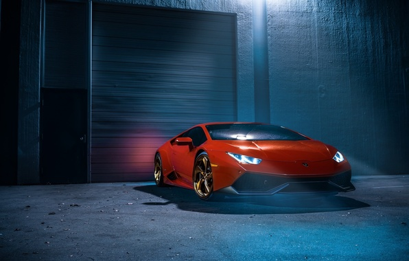 Picture Lamborghini, Orange, Front, Color, White, Smoke, Supercar, Wheels, Huracan, LP610-4, Ligth