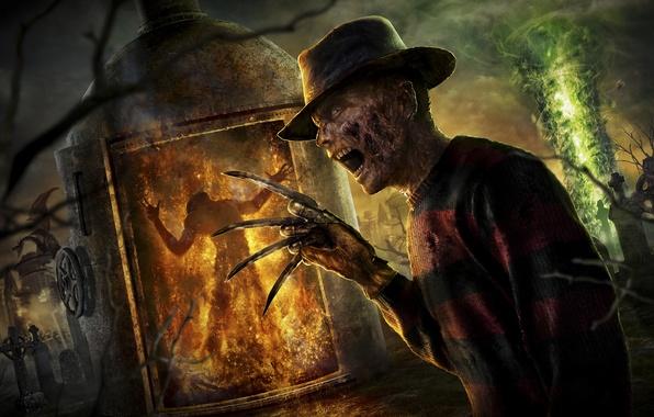 Picture fire, dragon, hat, cemetery, knives, glove, 2011, Freddy Krueger, Mortal Kombat, Freddy Krueger, NeoGAF, Frederick