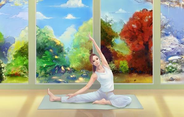 Picture winter, autumn, summer, look, girl, seasons, spring, art, yoga, Mat, painting