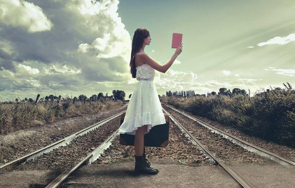 Picture girl, rails, railroad, suitcase, guide