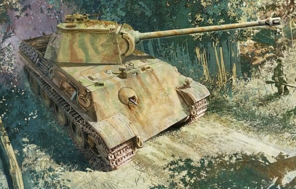 Picture figure, art, Panther, tank, MAN, Panther, PzKpfw V, Panzerkampfwagen V, German medium tank, T-5, T-V