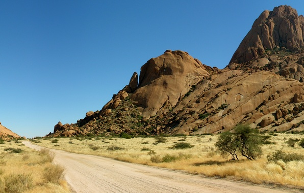 Picture The sky, Sand, Nature, Photo, Road, Mountains, Grass, Rocks, Trees, Desert, Panorama, Stones, Africa, Landscape, …