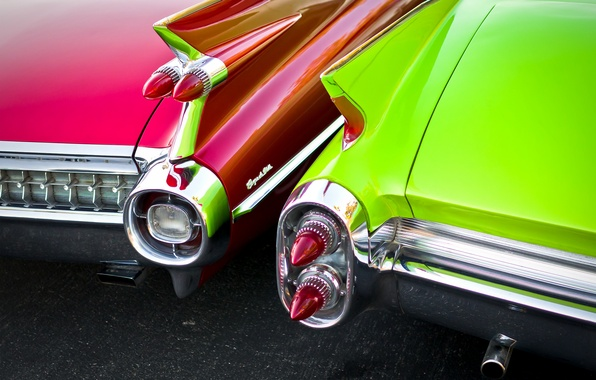 Picture retro, lights, Cadillac, 1960, classic, rear view, 1959
