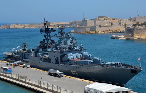 Picture ship, large, Navy, anti-submarine, Malta, Severomorsk, visit, large anti-submarine ship