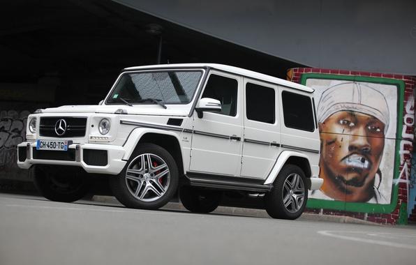 Picture white, wall, graffiti, Mercedes, jeep, Mercedes, wall, white, graffiti, amg, g63