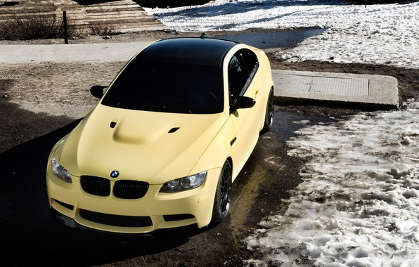 Picture snow, yellow, bmw, BMW, shadow, front view, e92, black\ roof, Dakar Yellow