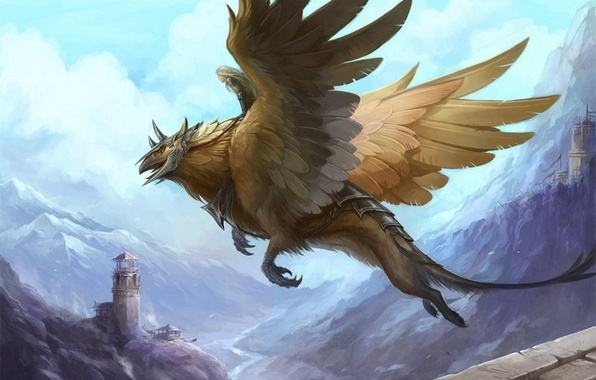 Picture girl, flight, mountains, castle, tower, wings, art, ruins, Griffin