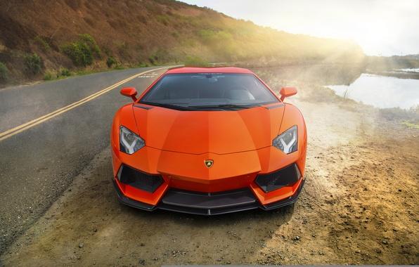 Picture supercar, orange, Lamborghini Aventador