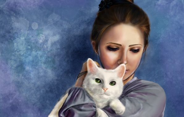 Picture cat, girl, art, hatae