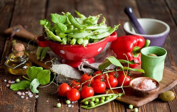 Picture oil, peas, dishes, pepper, vegetables, tomatoes, olives, cherry, Anna Verdina