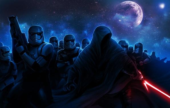Picture Star Wars, hood, art, lightsaber, stormtrooper, lightsaber, sith, The Force Awakens, Star Wars: Episode VII …