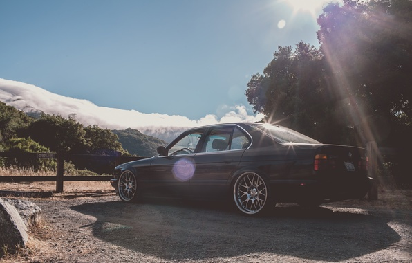 Picture mountains, BMW, BMW, black, drives, classic, E34, Beha, BBS, 535i