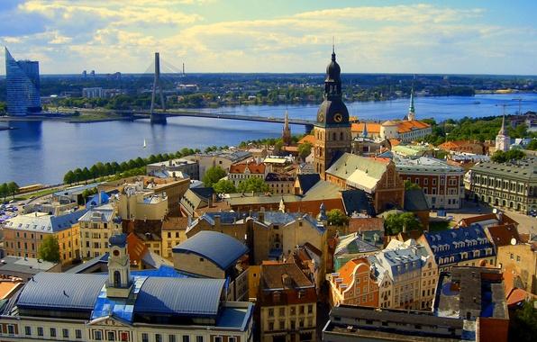 Picture the sky, bridge, river, home, panorama, Riga, Latvia