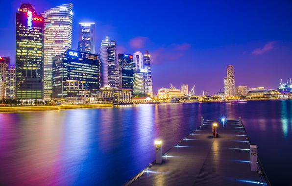 Picture night, the city, lights, building, home, skyscrapers, the evening, pier, backlight, pierce, Bay, Asia, Singapore, …