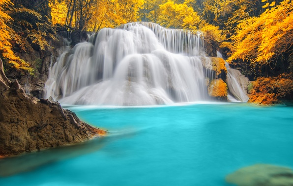 Picture autumn, forest, trees, nature, river, waterfall, forest, trees, nature, blue water, autumn, rivers, waterfalls, blue …