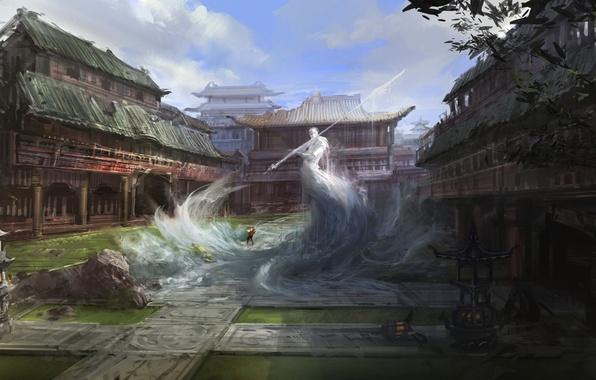 Picture spirit, warrior, temple, East, ruins, Art, spear, elemental, air