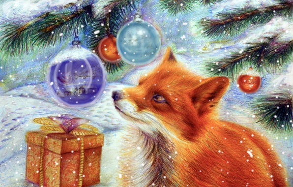 Picture winter, snow, holiday, gift, toy, tree, new year, art, Fox