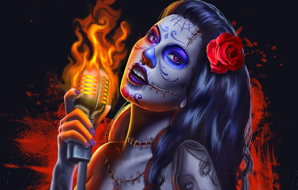 Picture look, girl, face, background, fire, hair, rose, hand, tattoo, art, microphone, seams