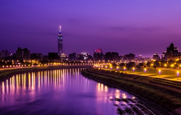 Picture the sky, light, night, the city, lights, reflection, river, tower, lights, China, Taiwan, alley, Taipei, …