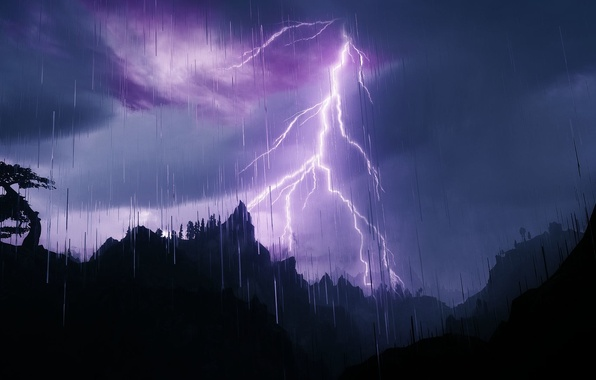 Picture the sky, mountains, clouds, nature, rain, tree, lightning, silhouette