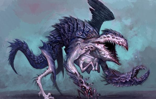 Picture Warhammer, bird, feathers, creature, ugly, reptile, teeth, filthy