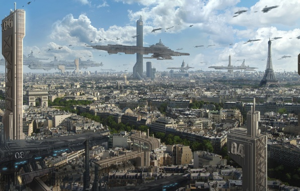 Picture clouds, the city, future, transport, Eiffel tower, view, Paris, ships, skyscrapers, art, arch, astrokevin
