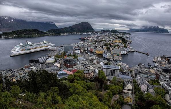 Picture building, home, Norway, panorama, liner, Norway, cruise, Alesund, Ålesund, fjords, The, Geirangerfjord, Aalesund, Jurong fjord