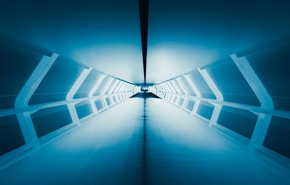 Picture light, blue, perspective, the tunnel