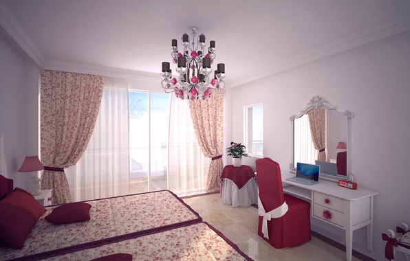 Picture design, room, bed, mirror, window, chair, chandelier, laptop, curtains, bedroom