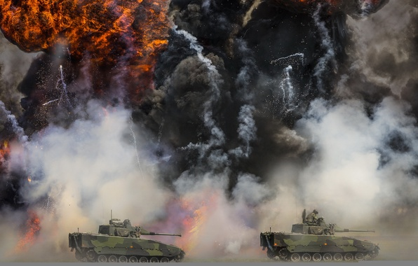 Picture explosion, Tanks, Simulated fight