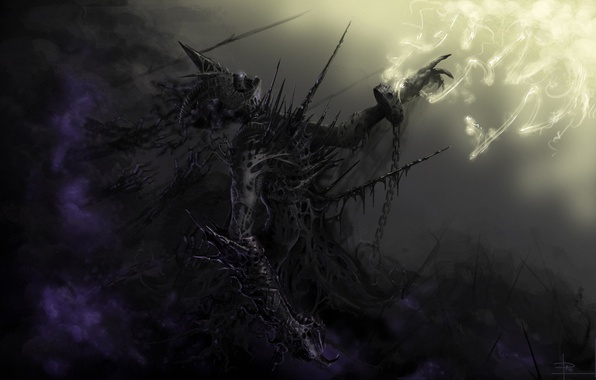 Picture darkness, monster, art, chain, shackles
