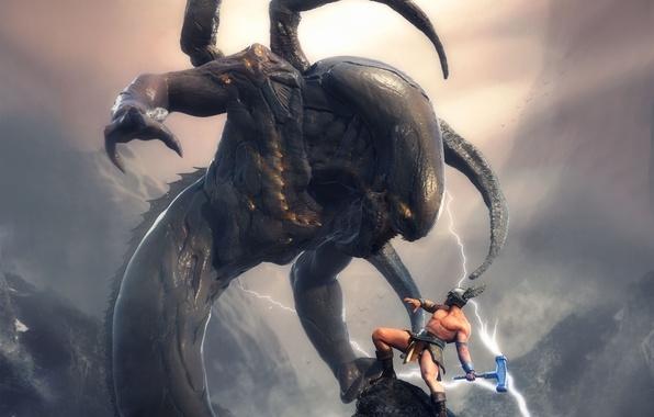 Picture fantasy, rocks, zipper, monster, warrior, battle, the battle, myth, Thor