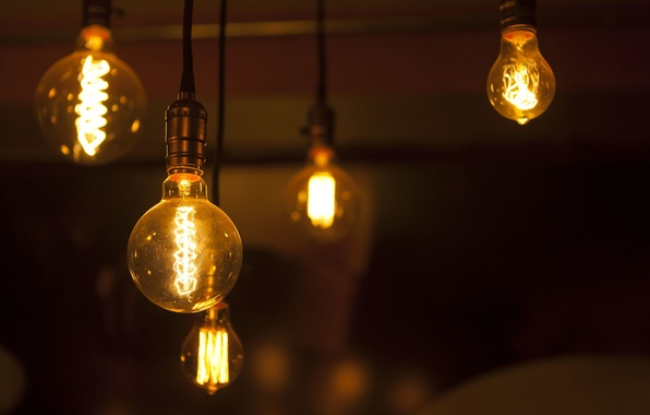 Picture old, heat, glowing, light bulbs