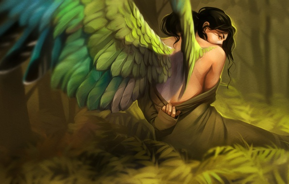 Picture girl, wings, fantasy, art, Alexander Khitrov, GaudiBuendia, Le