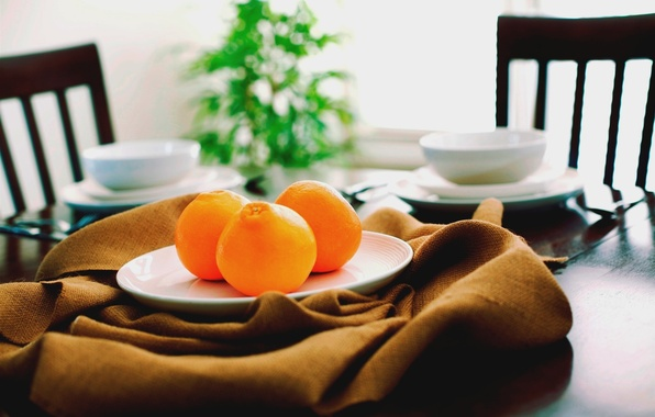 Picture orange, table, chairs, food, oranges, plate, kitchen, mug, Cup, dishes, fabric, fruit, brown, brown, saucer, …