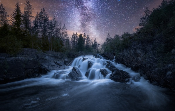 Picture the sky, stars, night, nature, river, the milky way
