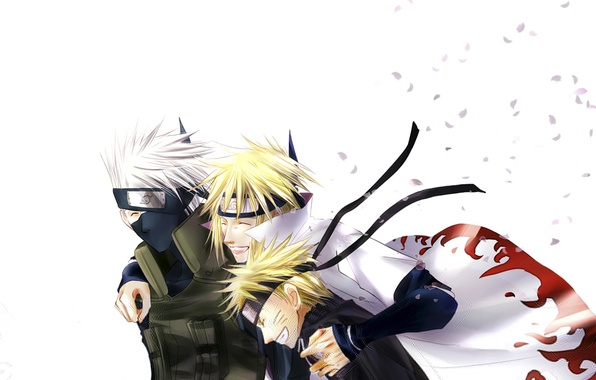 Picture petals, white background, Anime, Naruto, naruto, namikaze minato, smile, blonde hair, Uzumaki naruto, Kakashi, Hatake, …